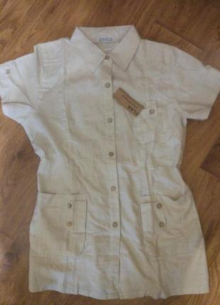 Рубашка с коротким рукавом лён