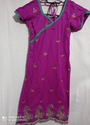 🔥 распродажа❗🔥  фиолетовое с камнями пейсли платье с короткими рукавами хлопок 💯 индия