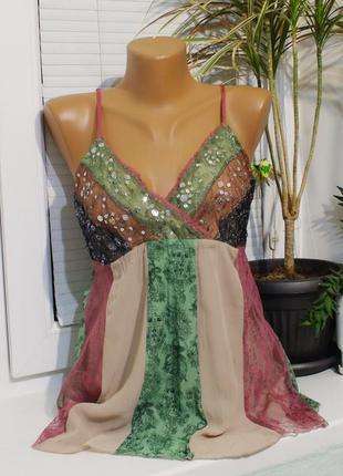 Esprit блузка s 44рр майка пайетки комбинированная