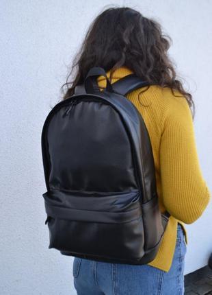 Вместительный кожаный рюкзак / экокожа / мужской женский / карман под ноутбук