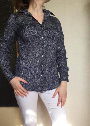 Женская рубашка томми хилфигер tommy hilfiger original синяя рубашка с  орнаментом огурец