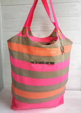 Полосатая пляжная сумка victorias secret