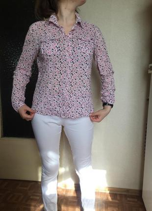 Рубашка с карманами ситцевая ситец в цветочек only large original хлопок