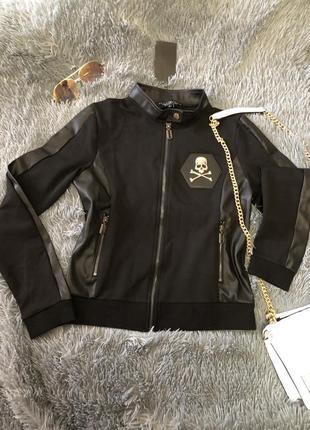 Брендовый костюм с кожаными вставками от philipp plein