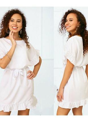 Белое летнее платье под пояс