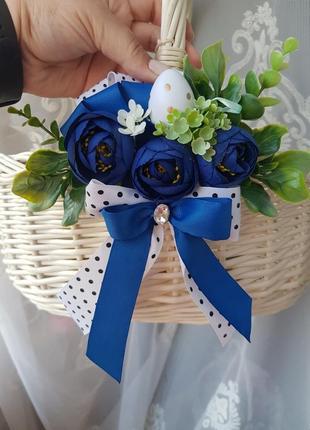 Прикраса на корзину синя