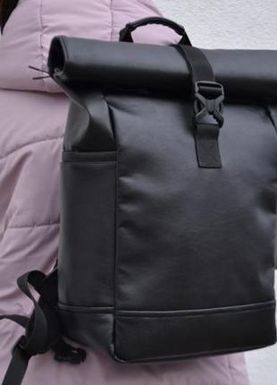 Кожаный роллтоп ролтоп rolltop рюкзак / экокожа / женский мужской / отделение под ноутбук