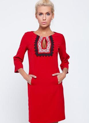 Классическое красное платье вышиванка от nenka