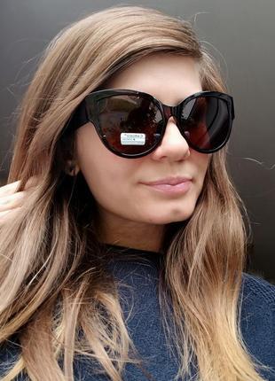 Новые стильные солнцезащитные очки (линза с поляризацией) коричневые