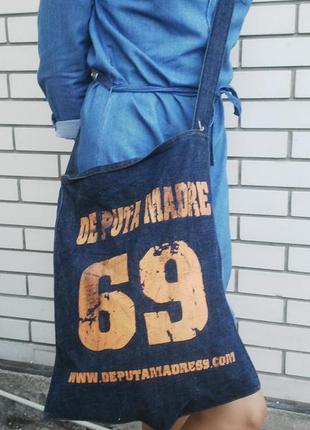 Крутая джинсовая сумка,торба на одну длинную ручку.