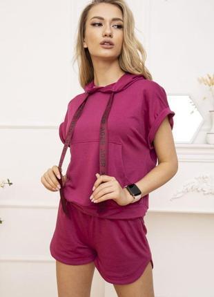 Женский летний бордовый спортивный костюм укороченный худи кофта с капюшоном шорты лето