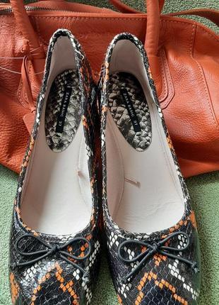 Zara кожаные туфли змеиный принт 23.5см