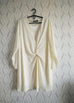 Missguided світло-жовта оверсайз сукня з вузлом