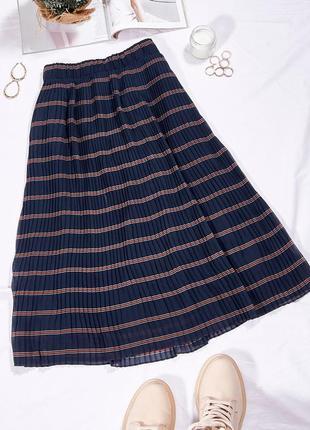 Плиссированная юбка миди в полоску, плісирована спідниця міді в смужку