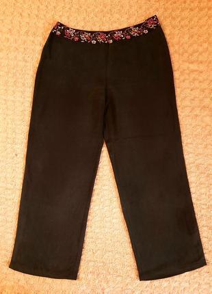 Чёрные, шёлковые брюки палаццо country casuals
