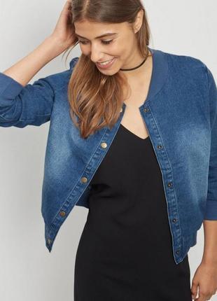 Синий голубой джинсовый бомбер джинсовая куртка курточка пиджак оверсайз