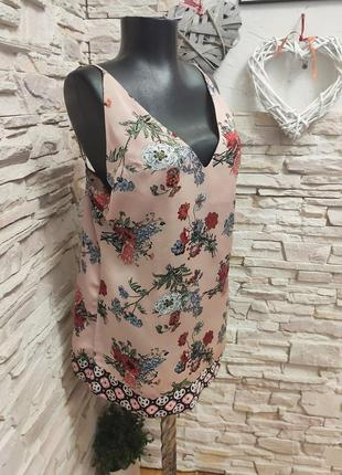 Маечка майка розово-пудровая цветочный принт блуза на тонких бретелях asos