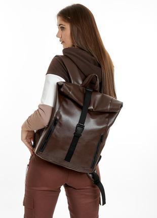 Rolltop рюкзак / экокожа / стильный женский коричневый рюкзак  под ноутбук