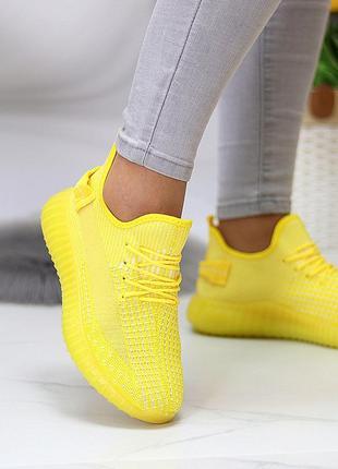Кроссовки женские saber, текстиль/вязка, желтые3 фото