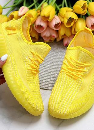 Кроссовки женские saber, текстиль/вязка, желтые5 фото