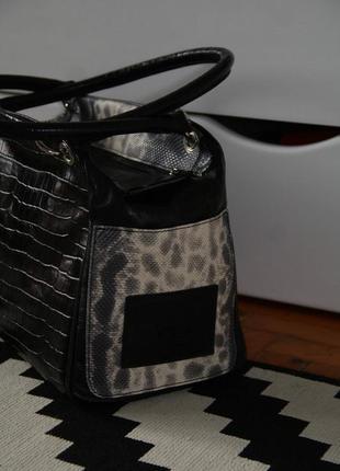 Чёрная кожаная сумка с питоном,италия