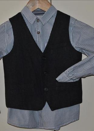 Комплект двойка zara рубашка и жилетка