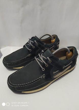 Кожаные комбинированные топсайдеры, туфли, мокасины marks & spencer