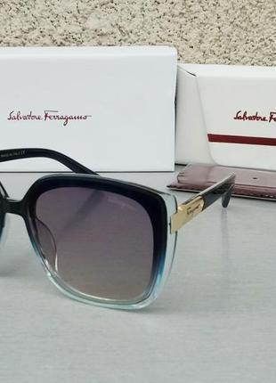 Salvatore ferragamo очки женские солнцезащитные большие сине голубые с градиентом