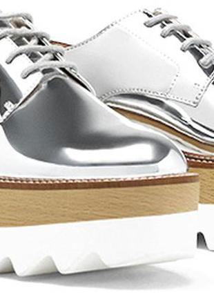 Суперские стильные туфли ботинки броги на  платформе stella mccartney pull & bear