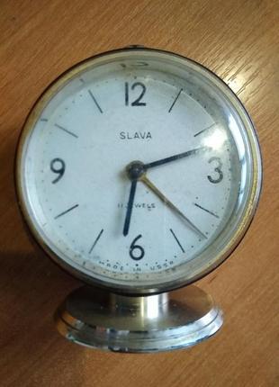 Часы будильник *slava*ссср.нуждаются в профилактике.читайте.