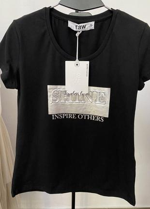 Черная футболка базовая топ поло майка