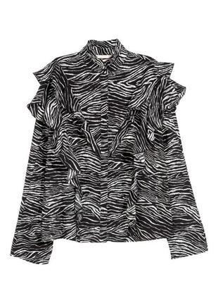 Оверсайз блуза рубашка с рюшами с анималистичным принтом зебра большой размер батал h&m