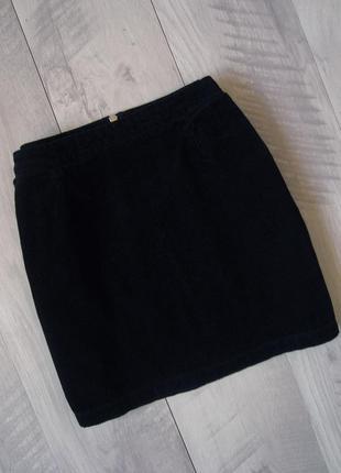 Вельветовая юбка мини с молнией new look