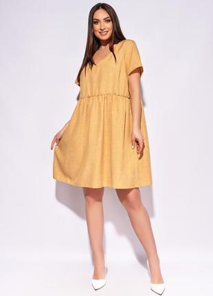 Женское платье короткое свободное повседневное с короткими рукавами