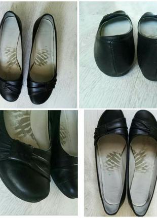 Черные кожаные балетки clarks 39-40