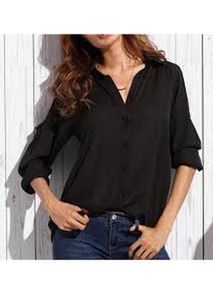 Базовая черная женская рубашка блузка mango 42 s
