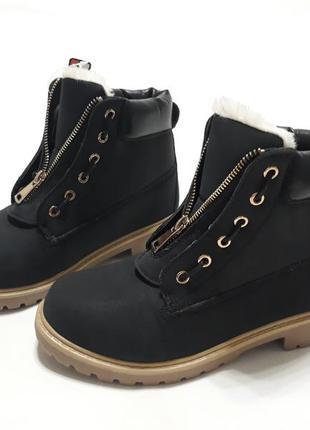 Черные женские зимние ботинки, материал - эко-нубук. турция