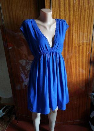 Трэндовое летнее пляжное платье/сарафан с кружевом 100% вискоза zara