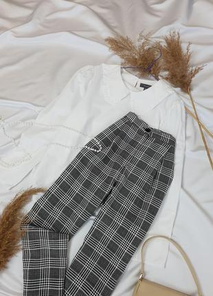 Стильні брюки в актуальну клітинку з защипами на високій посадці від  h&m  .7 фото