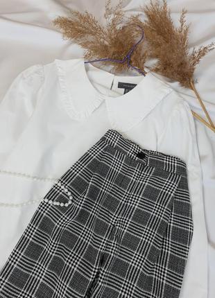 Стильні брюки в актуальну клітинку з защипами на високій посадці від  h&m  .5 фото