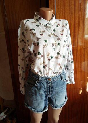 Трэндовая овэрсайз рубашка/блуза с интересным/животным принтом h&m