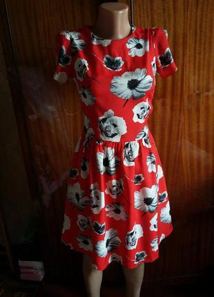 Милое яркое красное платье в цветах atmosphere 100% вискоза