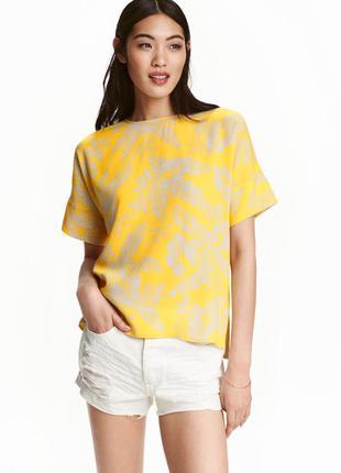 Яркий оверсайз топ/блуза с принтом 100% вискоза h&m