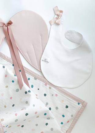 Комплект для новонародженого- плед, слинявчик та крильця ангела