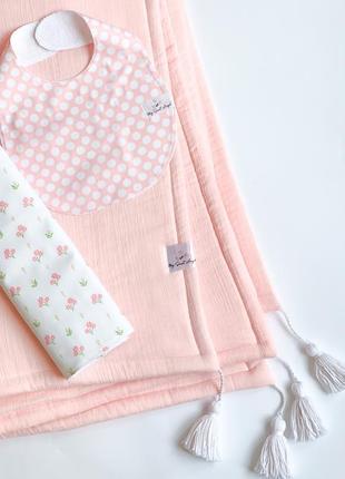 Комплект для новонародженого- плед, непромокаюча пеленка та слинявчик