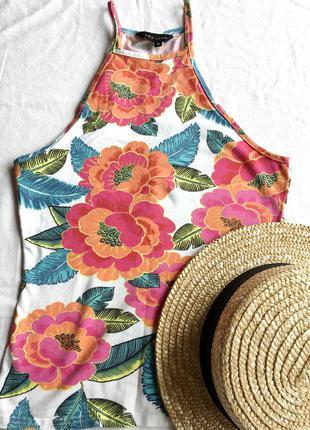 Майка яркий топ asos в цветы цветочный принт с открытыми плечами