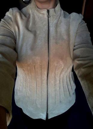 Куртка бомбер замшевая