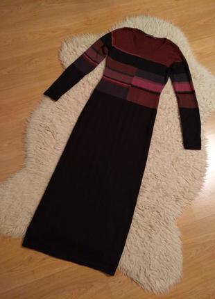 Платье peruvian collection шерсть мериноса  alpaca черное длинное в пол теплое m