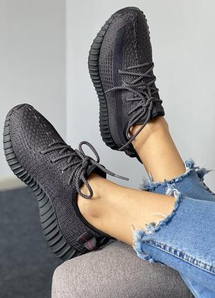 Женские кроссовки adidas yeezy boost 350  black (full ref)