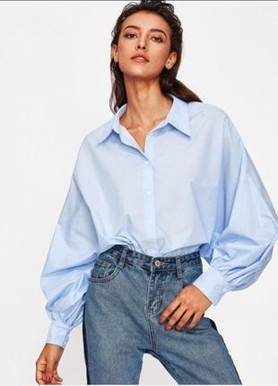 Котоновая рубашка с пышными рукавами h&m